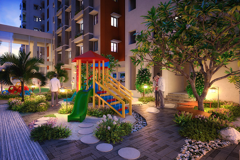 Evening view of the children's play area at Solaris Bonhooghly