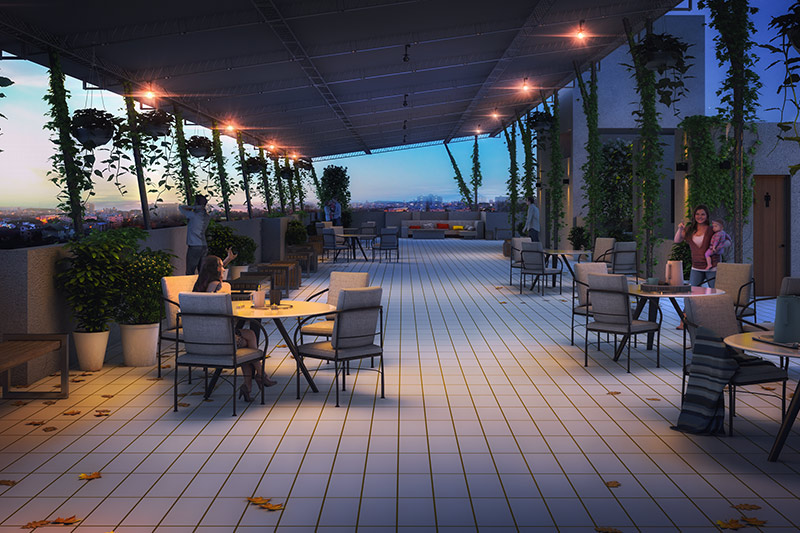 The roof-top community space at Solaris Bonhooghly