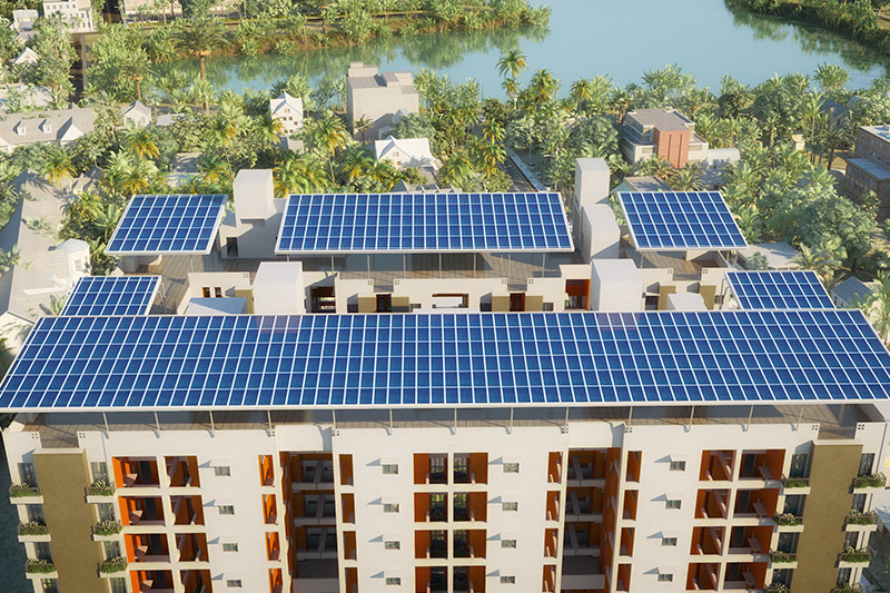 Solar panels installed on the roof-top of Solaris Bonhooghly