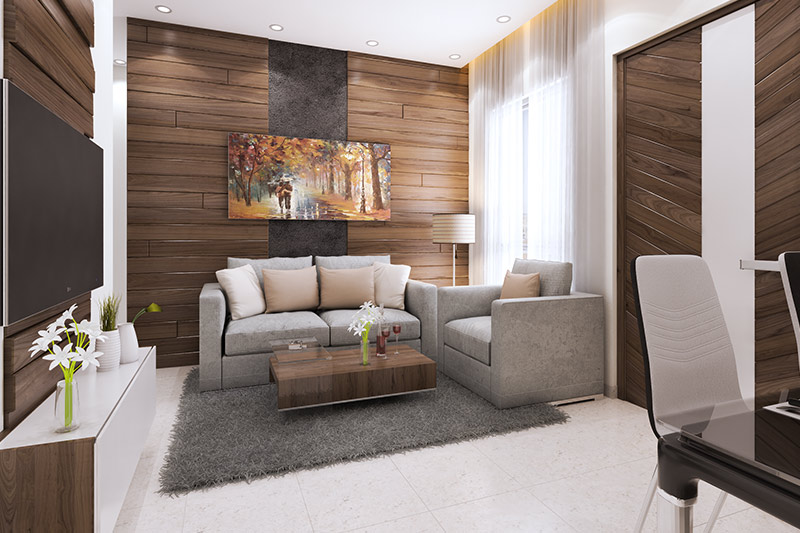 Living/dining area in an apartment at Solaris Bonhooghly