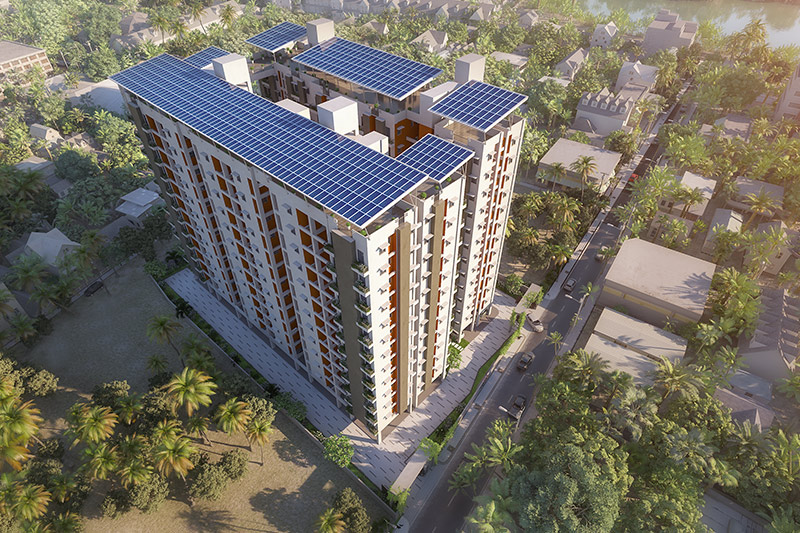 Bird's eye view of the Solaris Bonhooghly towers