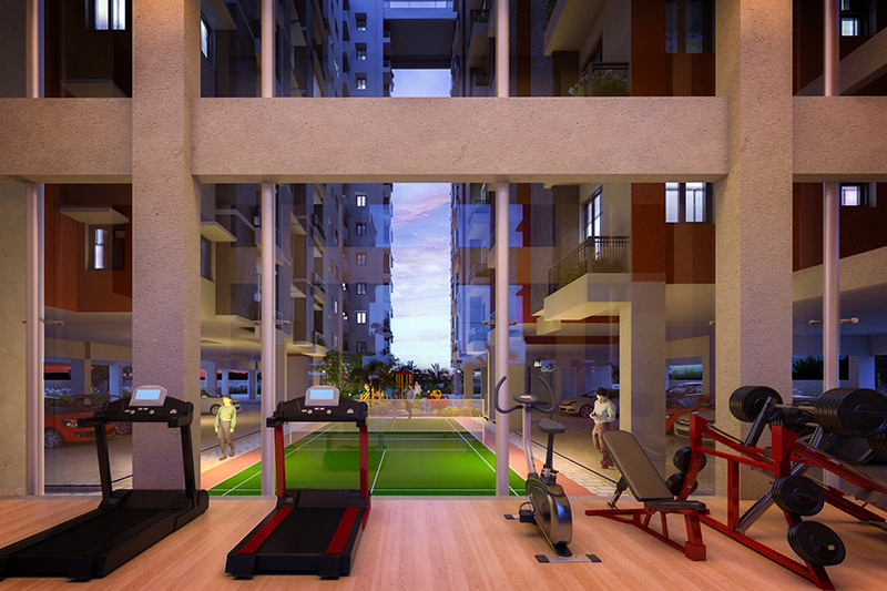 A gymnasium for residents to workout at Solaris Bonhooghly